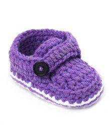 Jute Baby Handmade Crochet Booties - Purple White
