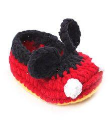 Jute Baby Handmade Crochet Booties - Red Black