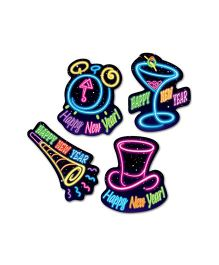 Planet Jashn Pack of 4 Happy New Year Cut-outs - Multi Color