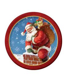 Planet Jashn Set of 8 Christmas Up On The Roof Top Plates - Red and Blue