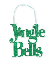 Planet Jashn Jingle Bells Glitter Sign With Ribbon Hanger - Green