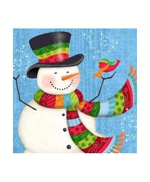 Planet Jashn Set of 18 Snowman Frolic Napkins - Multi Color