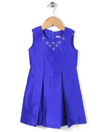 Angelito Sleeveless Party Frock Floral Stone Work - Blue