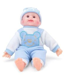 Tickles Laughing Baby Doll Blue And White Teddy Design - 14 Inches