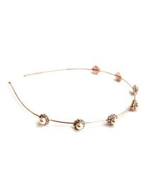 A.T.U.N Hairband With Diamante Flowers & Pearls On Base - Gold