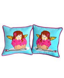 Bananaah Sugar Pie Girl Print Cushion Covers - Blue
