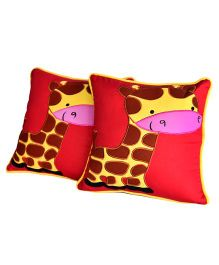 Bananaah Giraffe Duo Print Cushion Cover - Red