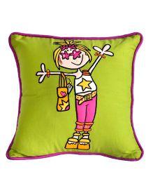 Bananaah Groovy Girl Print Cushion Cover - Green