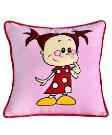 Bananaah Cute Lil Girl Print Cushion Cover - Pink