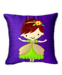 Bananaah Pretty Girl Print Cushion Cover - Blue