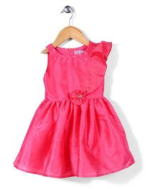 Angelito Sleeveless Party Frock Floral Appliques - Pink