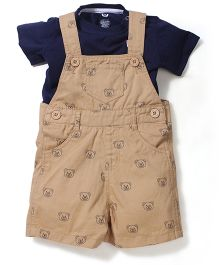 Baby League Dungaree Teddy Print With Solid Color T-Shirt - Khaki Navy