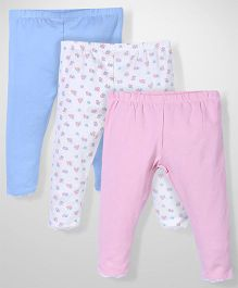 Mothercare Legging Pack Of 3 - White Pink & Blue