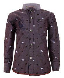 Einstein Horse Printed Shirt - Purple