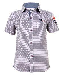 Biker Boys Star & Line Print Shirt - Purple