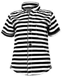 Biker Boys Striped Pattern Shirt - Black & White