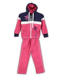 Lilliput Kids Full Sleeves Hooded Jacket And Pant Butterfly Print - Pink