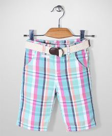 Mothercare Checks Twill Belted Shorts - Multicolor