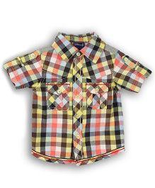 Lilliput Kids Gingham Check Shirt - Yellow & Peach
