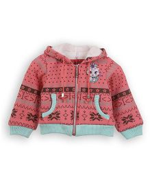 Lilliput Kids Full Sleeves Contrast Trim Hooded Kitty Print Jacket - Pink