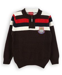 Lilliput Kids Full Sleeves Sweater With Multicolor Stripes And Neck Zip - Brown