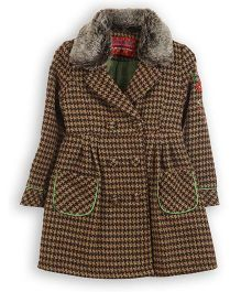 Lilliput Kids Full Sleeves Trench Coat - Brown