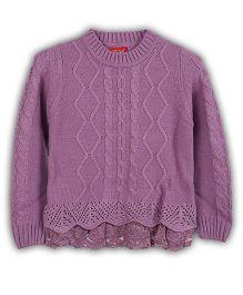 Lilliput Kids Full Sleeves Plain Sweater - Purple