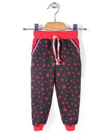 X N Sports Track Pants With Drawstring - Black Red