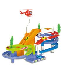Surya Track Racer With Small Car And Helicopter - Multi Color