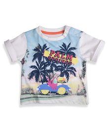Mothercare Half Sleeves T-Shirt Palm Springs Print - White & Cyan Blue