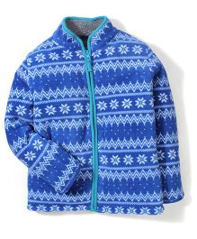 Mothercare Full Sleeves Fairisle Borg Lined Fleece Jacket - Blue