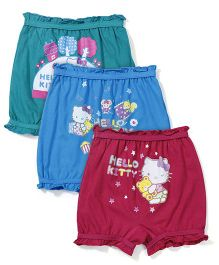 Hello Kitty Bloomers Multi Print Pack Of 3 - Green Blue Maroon