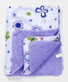 Babyhug Baby Blanket Butterfly Print - Purple & White