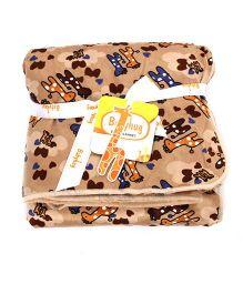Babyhug Baby Blanket Giraffe Print - Brown