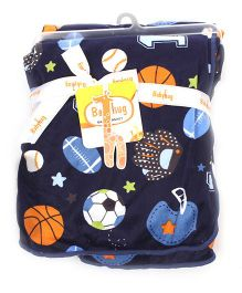 Babyhug Baby Blanket Football Print - Navy Blue