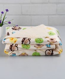 Babyhug Sherin & Poly Wool Blanket Froggy And Bear Print - Cream