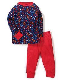 Ollypop Full Sleeves Night Suit Multi Print - Red Navy