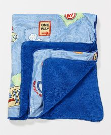 Babyhug Baby Blanket Vehicle Print - Blue