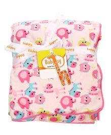 Babyhug Baby Blanket Elephant Print - Pink