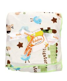 Babyhug Baby Blanket Alligator And Bee Print - White & Green