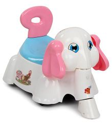 Shadilal Happy Elephant 2 In 1 Musical Potty Chair And Sliding Car - White
