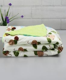 Babyhug Sherin & Poly Wool Blanket Tortoise And Caterpillar  Print - Green