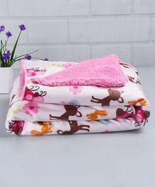 Babyhug Baby Blanket Deer & Owl Print - Pink & White