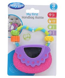 Playgro Handbag Shape Rattle Toy - Purple And Pink