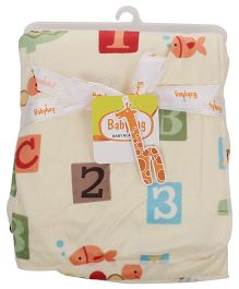 Babyhug Baby Blanket Number And Alphabet Print - Lemon