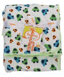 Babyhug Baby Blanket Car Print - White & Green
