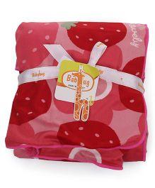 Babyhug Baby Blanket Strawberry Print - Pink And Red