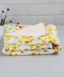 Babyhug Baby Blanket Animal and Bird Print - White & Multicolor