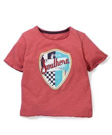 Mothercare Half Sleeves Graphic Print T-Shirt - Coral