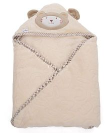 1st Step Hooded Wrapper Bear Embroidery - Cream